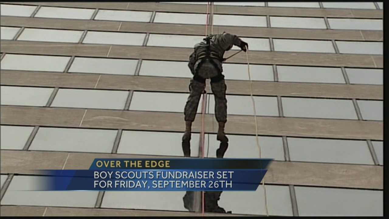 Event features participants rappelling hotel building for Boy Scouts