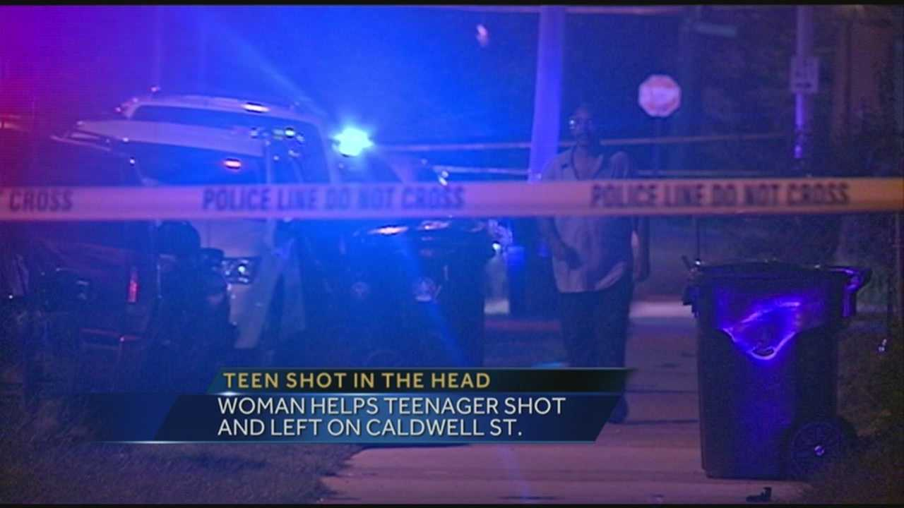 Police are looking for the person who shot a teenager in the head and left him in the middle of a street Monday night.