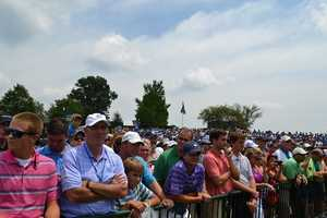 14. Swimming in a sea of humanity around Tiger Woods.