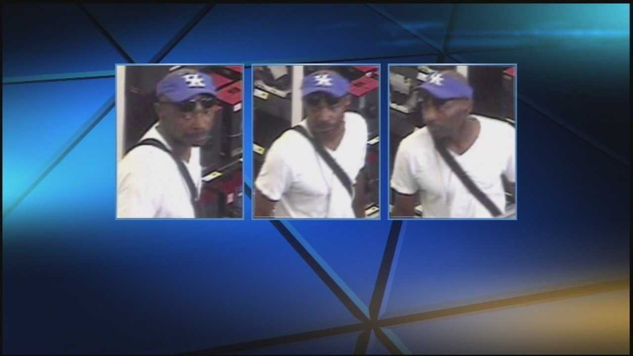 Police are searching for a man they say robbed a Best Buy and became violent with an employee.