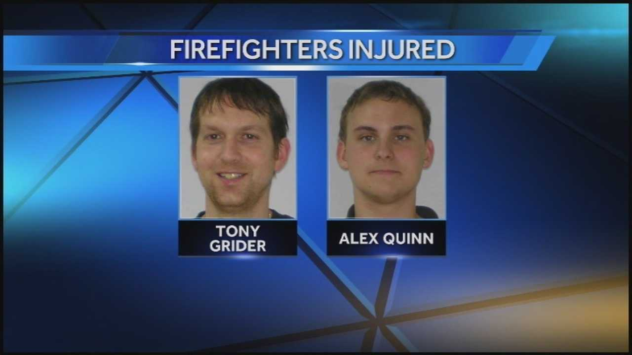 Two firefighters are being treated for burns after being injured while helping with an ALS Ice Bucket Challenge at Campbellsville University.