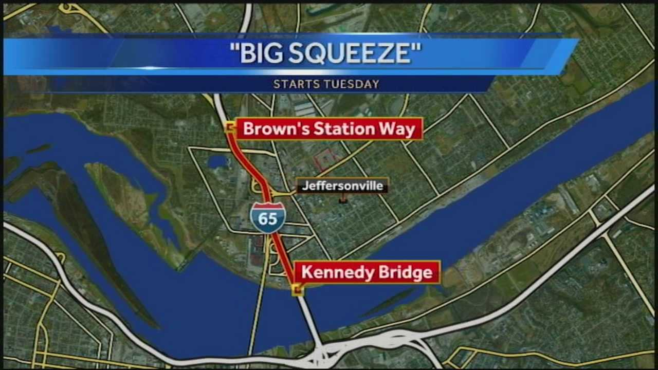 "Long-term lane closures on Interstate 65 in southern Indiana as part the Ohio River Bridges Project's ""Big Squeeze."""