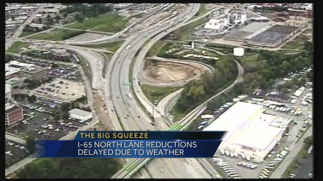 After being delayed because of bad weather, the Big Squeeze is expected to go into effect for the northbound side of I-65 on Wednesday.