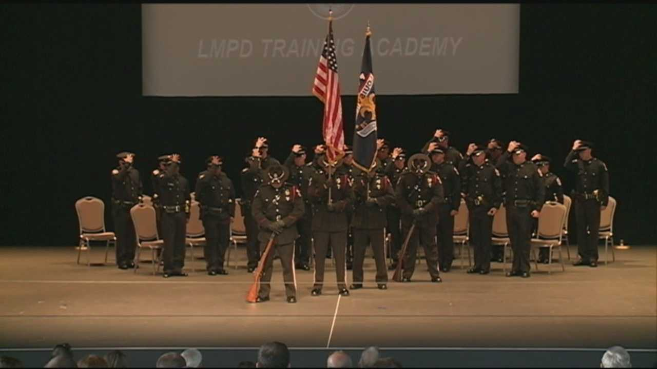 The Louisville Metro Police Department swears in 19 new officers Wednesday.