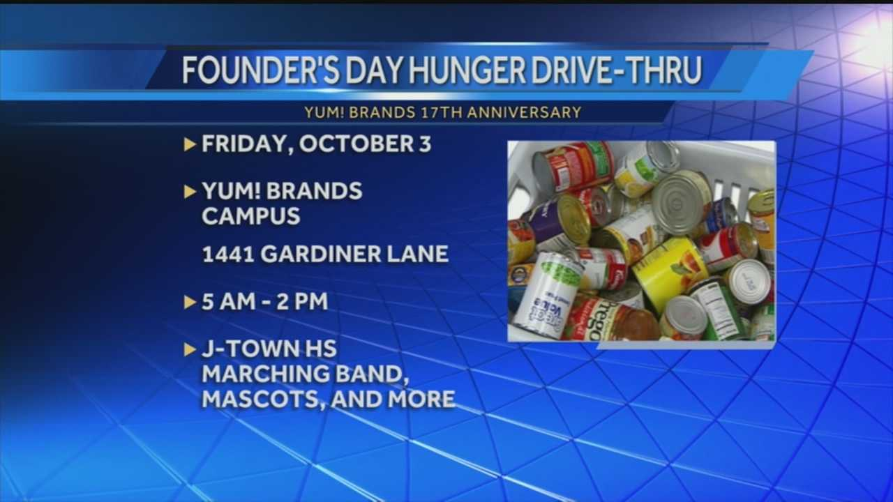 Yum Brands is hosing a food drive to coincide with the company's 17th anniversary this week.