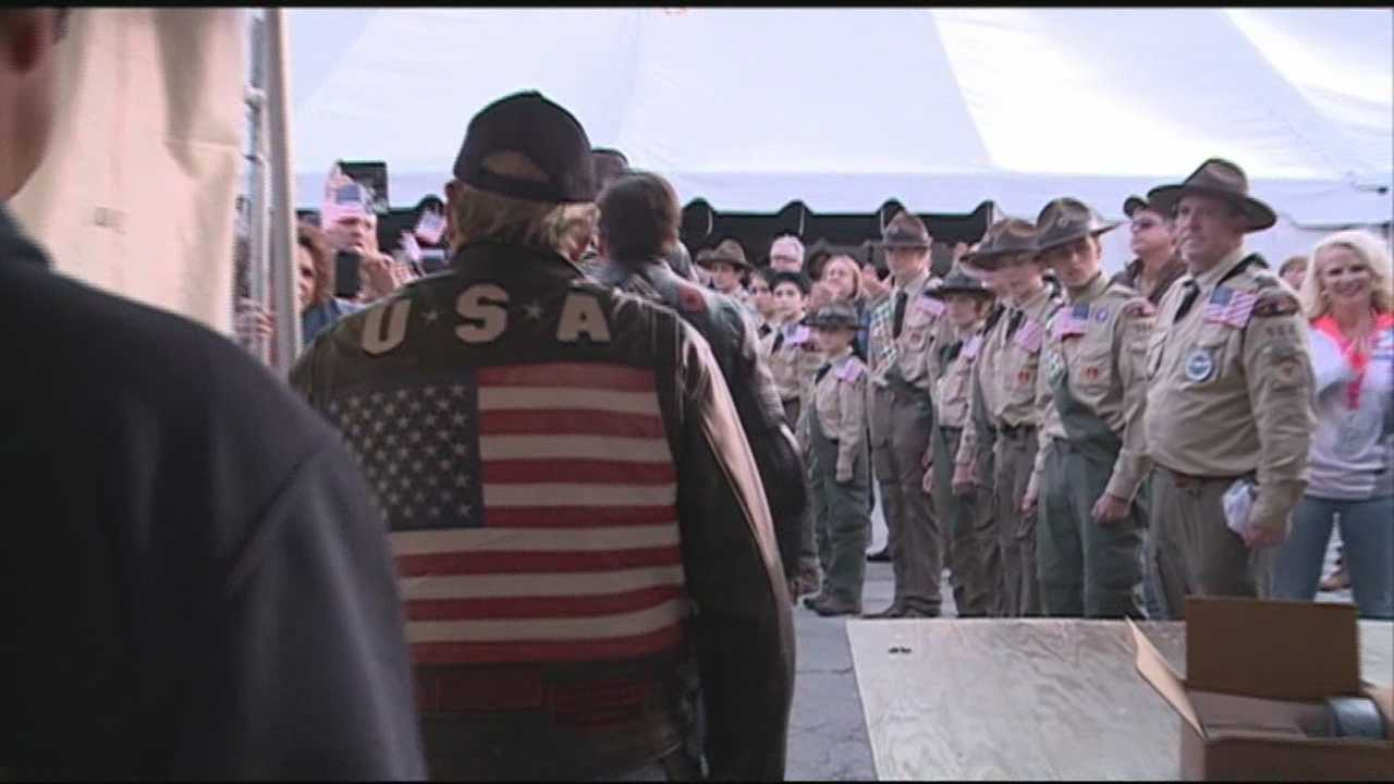 People gathered in Prospect on Saturday night to pay tribute to the Wounded Warrior Project.