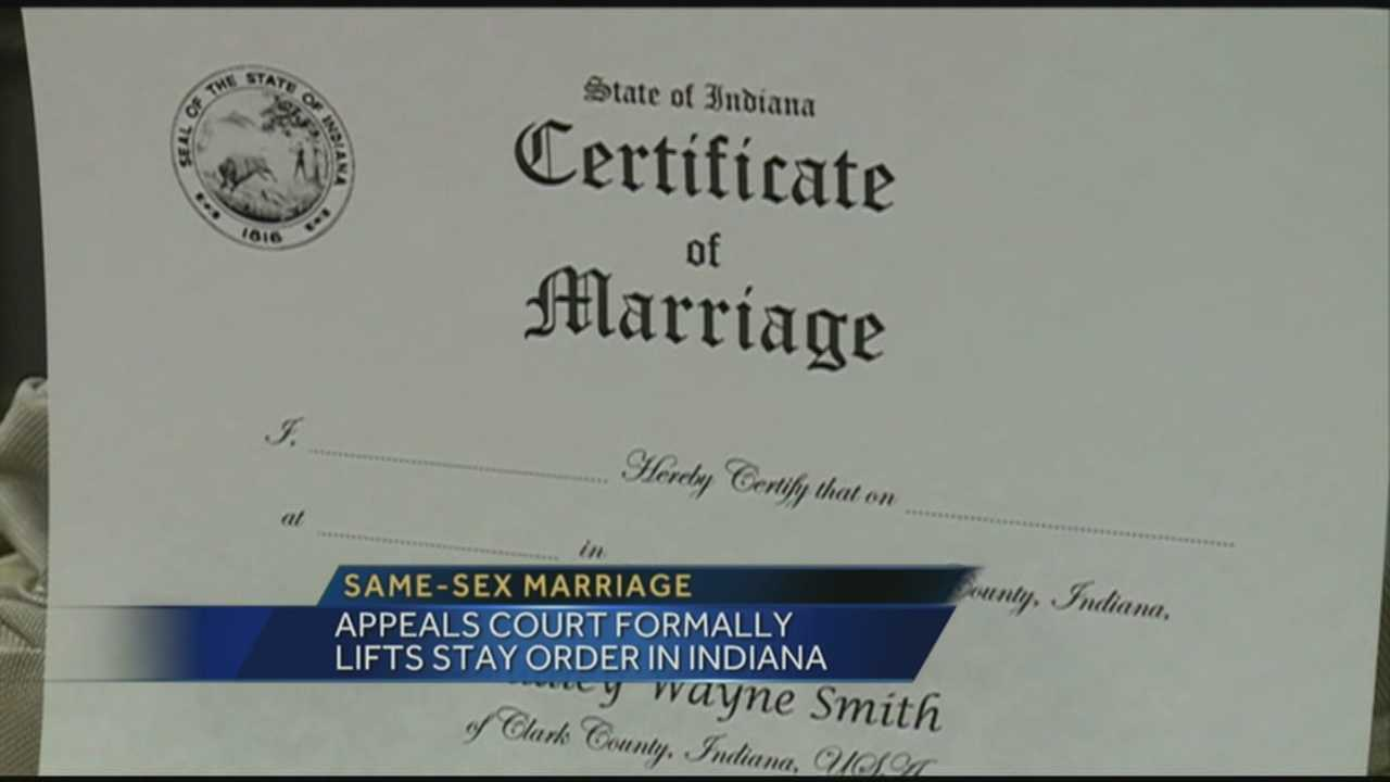 Appeals court has formally lifted the stay order place on same-sex marriage in Indiana.