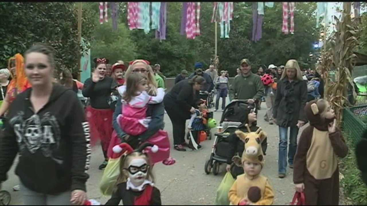 "The theme of the Louisville Zoo's Halloween Party is to ""be seen, not scared"" and children are encouraged to dress up in their wildest costumes and make their way through the zoo."