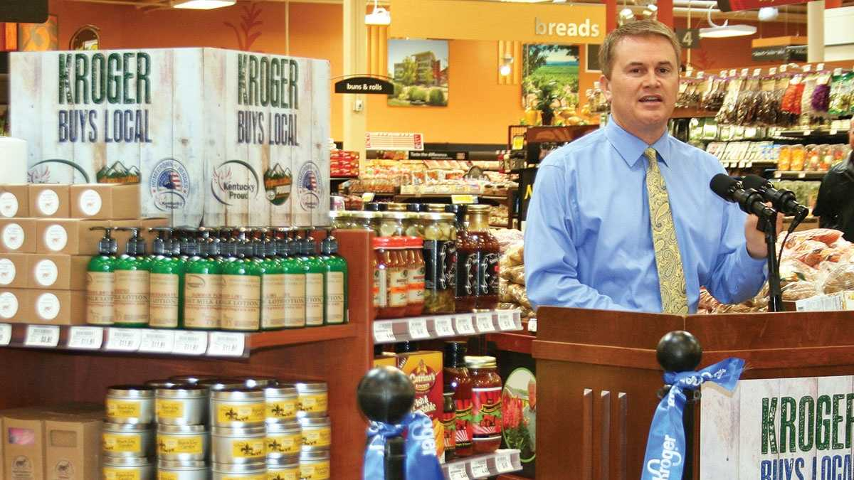 Agriculture Commissioner James Comer announces that Kroger will carry 125 new Kentucky Proud items from 34 producers in 88 Kentucky stores.