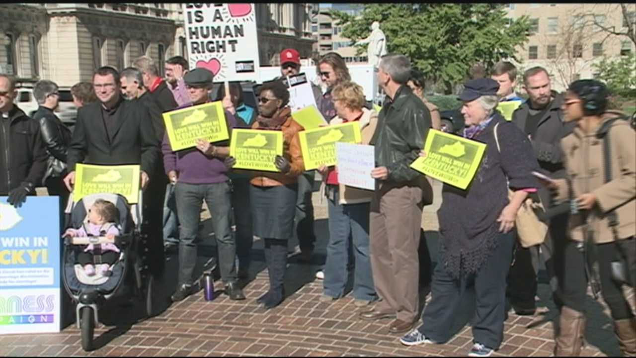 A group gathered Friday in Louisville to protest a ruling issued against gay marriage.