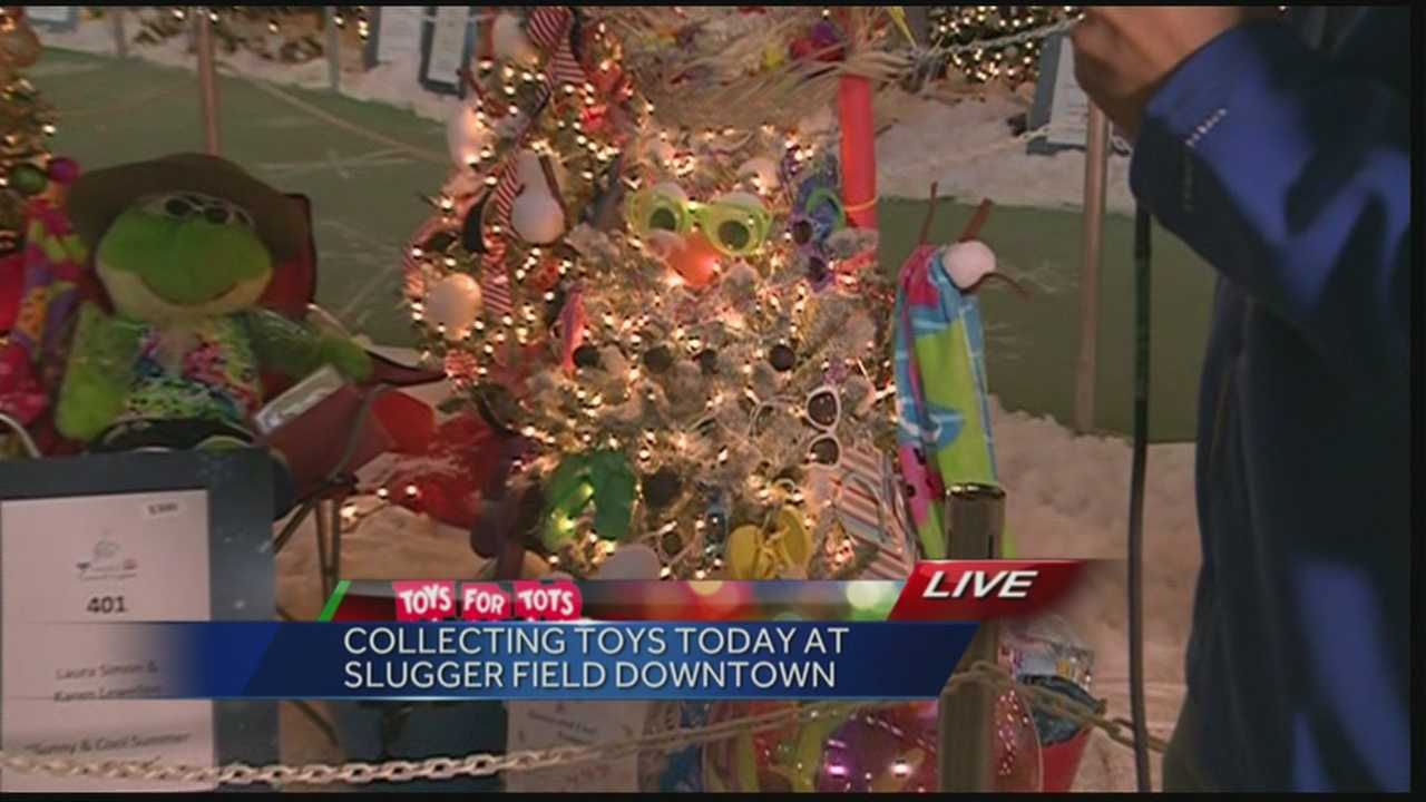 A toy and donation collection is underway at the Festival of Trees & Lights at Slugger Field.