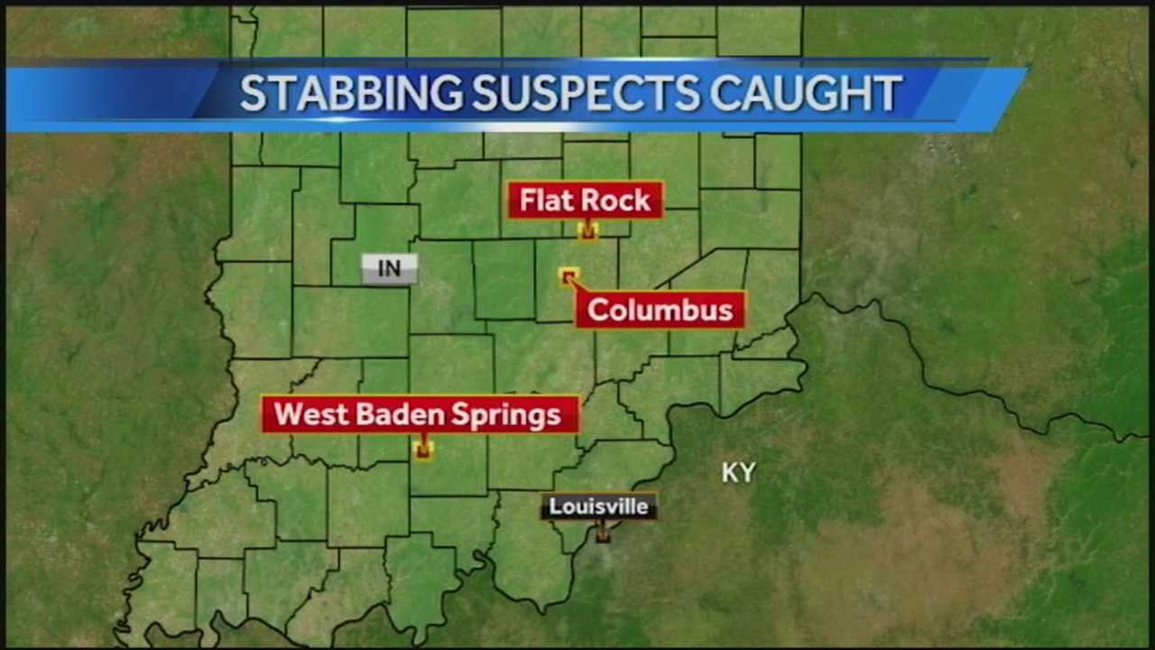 The search for two men suspected of breaking into a southern Indiana couple's home and violently stabbing them ends with a high-speed police chase.