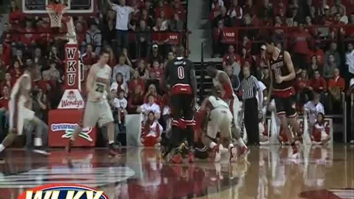 During a loose ball incident between Louisville and WKU, Montrezl Harrell threw a punch and was ejected from the game.