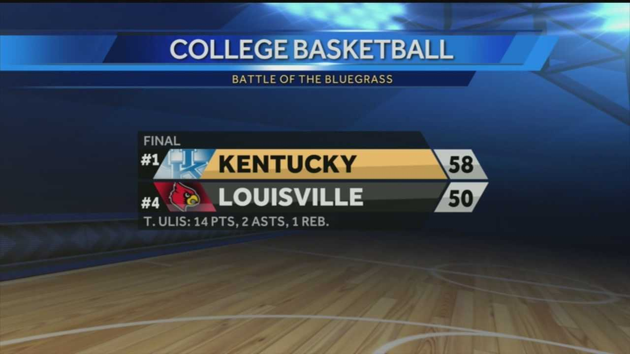 The University of Kentucky Wildcats beat the University of Louisville Cardinals at the KFC Yum Center Saturday.