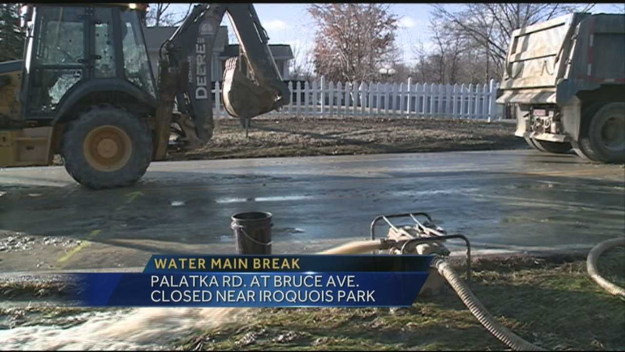 Palatka Road is closed at Bruce Avenue due to a water main break.