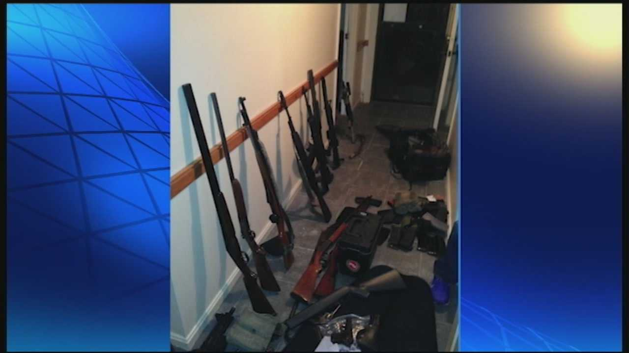 Bullitt County deputies say they found assault rifles, shotguns and other firearms, stolen from Jefferson County, inside one man's Brooks, Kentucky home.