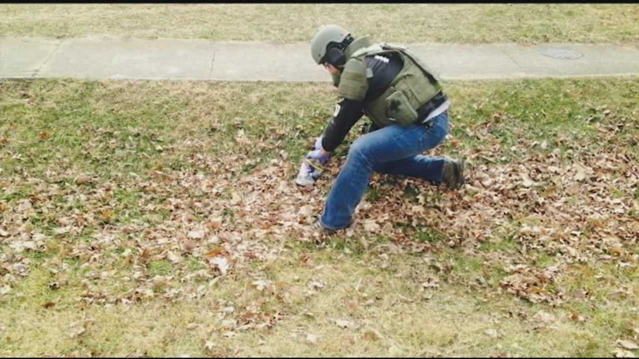 Hillview police officers and bomb squad members from the Louisville Metro Police Department defused two homemade explosive bottles Sunday, after an off-duty officer noticed the suspicious bottles in a ditch on Overdale Drive in Hillview.
