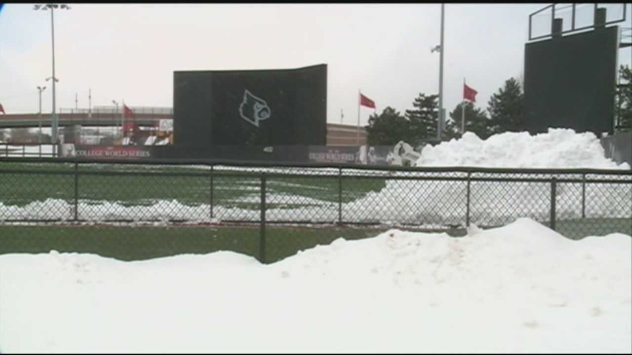 The University of Louisville baseball team postponed its season opener Wednesday due to the snow and extreme cold.