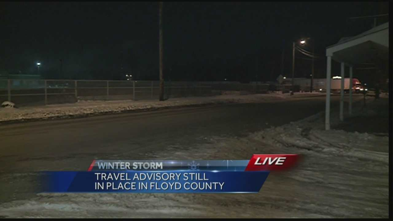 A travel advisory still in place in Floyd County as crews work to clear roadways.