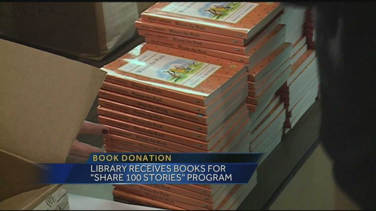 "A library received books for ""Share 100 Stories"" program."