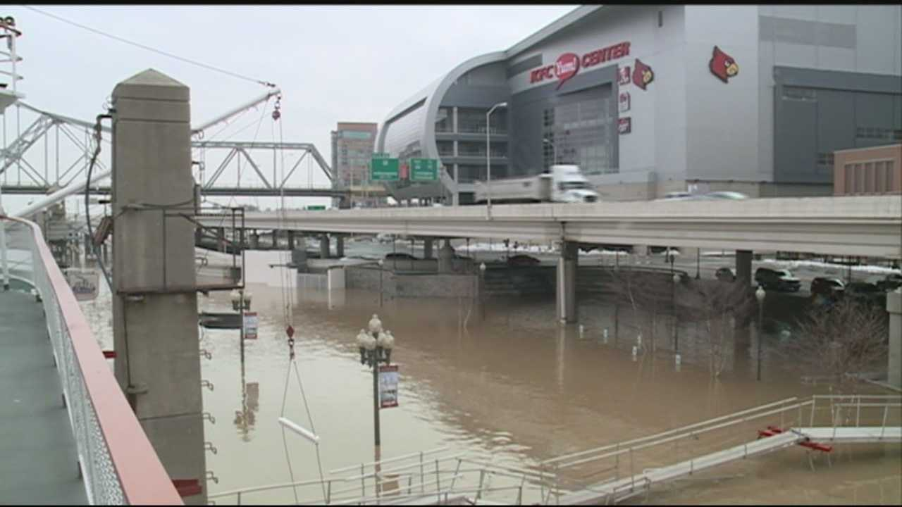 High water prompted some street closures in downtown Louisville on Monday morning.