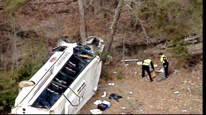 The WLKY NewsChopper flies over a charter bus crash on Interstate 65 in Southern Indiana.