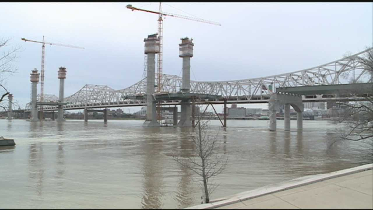 Flooding has receded, but work is still paused on the Ohio River Bridges Project.