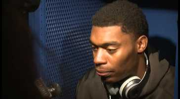 Kentucky Wildcat Dakari Johnson speaks in the locker room after the Cats' 71-64 loss to the Wisconsin Badgers in the Final Four.