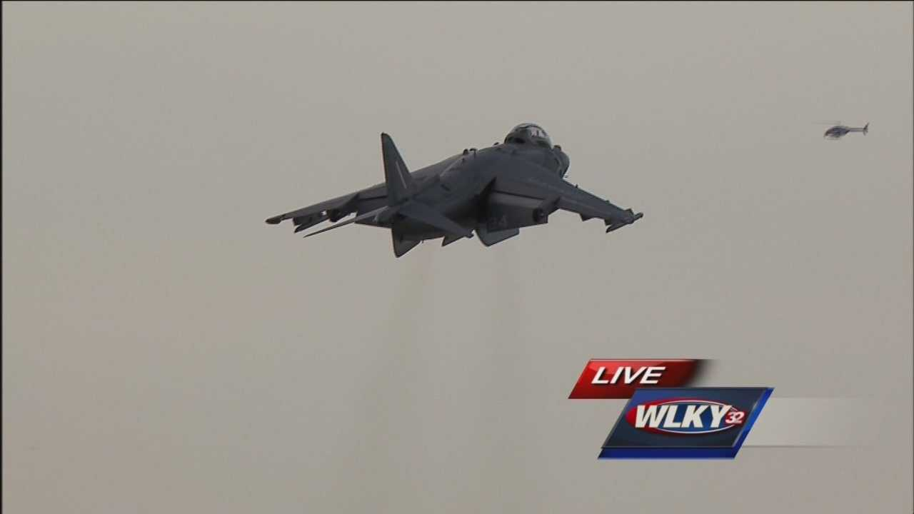The Harrier demo team steals the air show of Thunder Over Louisville 2015 by hovering over Louisville.