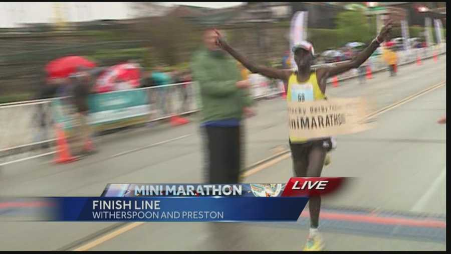 The male mini marathon winner came in at 1:01:45, breaking the previous record.
