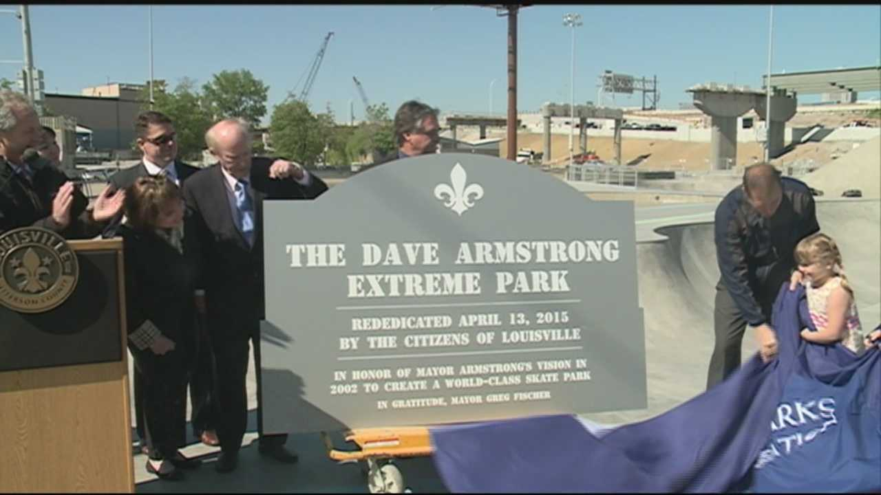 Surrounded by skaters and bikers, Mayor Greg Fischer on Tuesday unveiled the newly redesigned Dave Armstrong Extreme Park, renamed in honor of the former mayor who created the popular park in 2002.