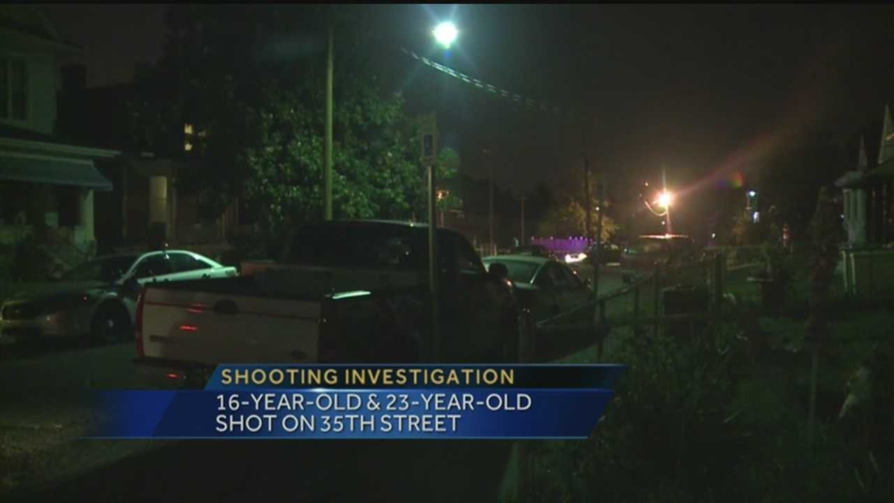 A 16-year-old boy and a 23-year-old man were shot while sitting on a porch on 35th Street.