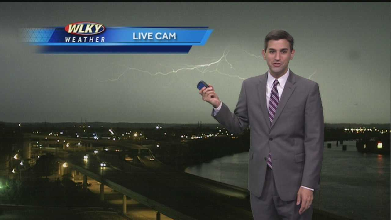 For the second time on Monday morning, perfectly-timed lightning on the live weather camera excites WLKY Meteorologist Matt Milosevich on Monday morning.