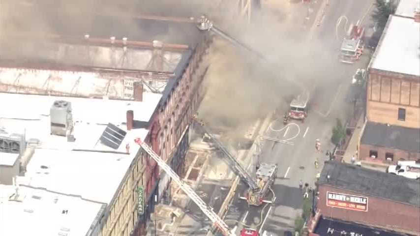 Raw aerials from the WLKY NewsChopper of the fire along Whiskey Row in downtown Louisville.
