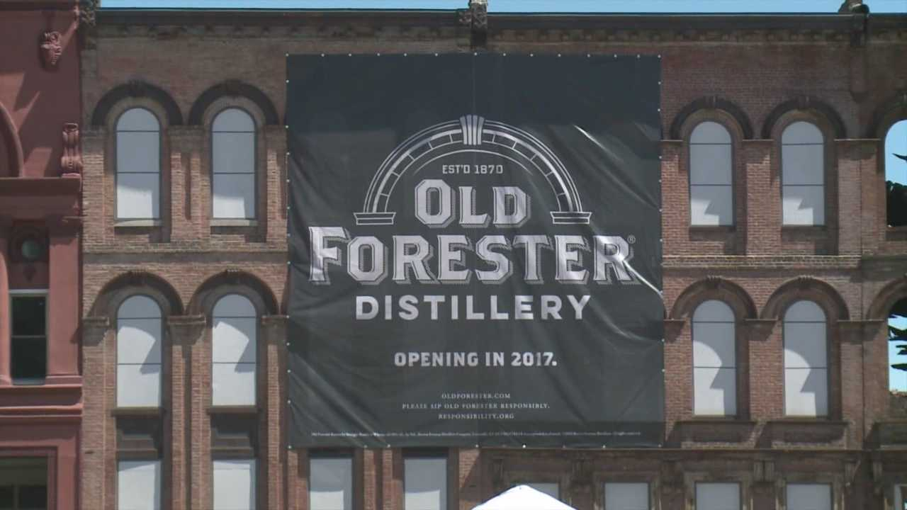 More than two weeks after flames tore through historic buildings on Louisville's Whiskey Row, a celebration was held to kick off construction on the nearby Old Forester Distillery.