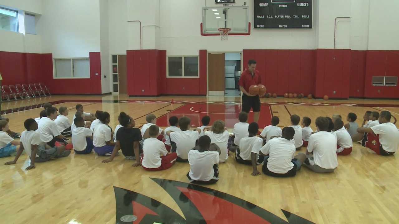 Rick Pitino visits Robbie Valentine basketball camp