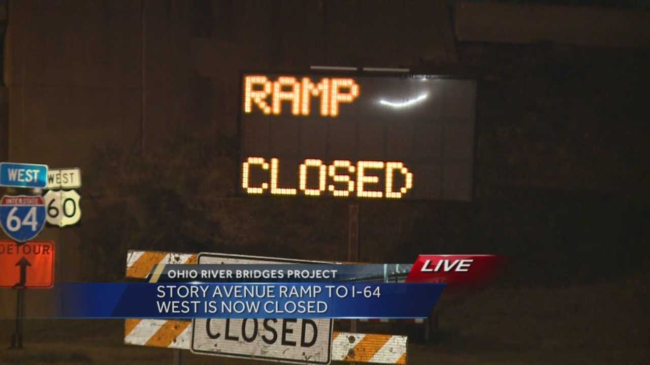 The ramp is closing for maintenance of traffic issues and construction in the area associated with the Downtown Crossing portion of the Ohio River Bridges Project.