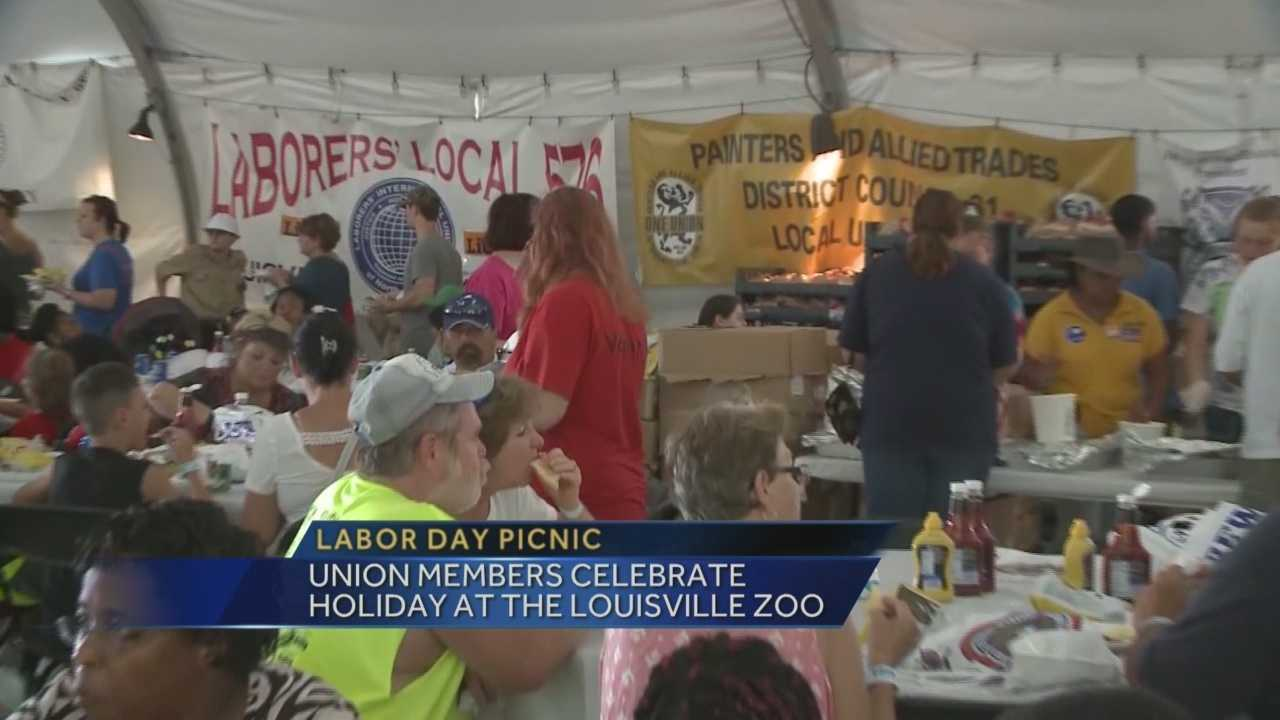 Union members are celebrating Labor Day at the Louisville Zoo.
