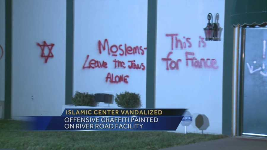 Vandals target the Louisville Islamic Center on River Road