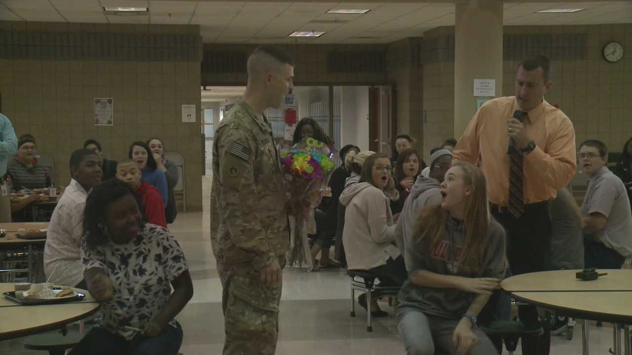 Military father surprises 3 Hardin County Students at school after year tour