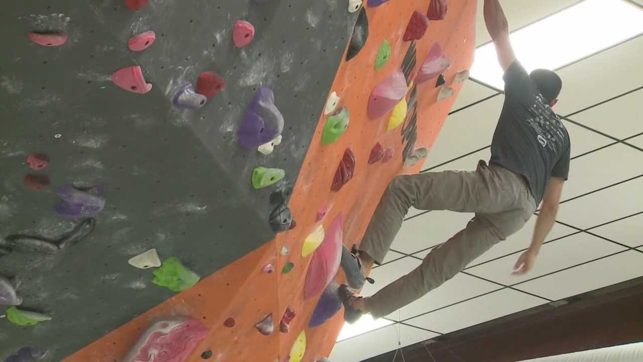 WLKY's Mark Vanderhoff shows an indoor climbing facility.