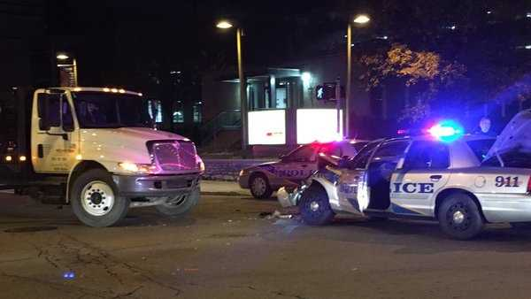 Louisville Metro police are looking for a driver who fled after crashing a truck into a police cruiser.