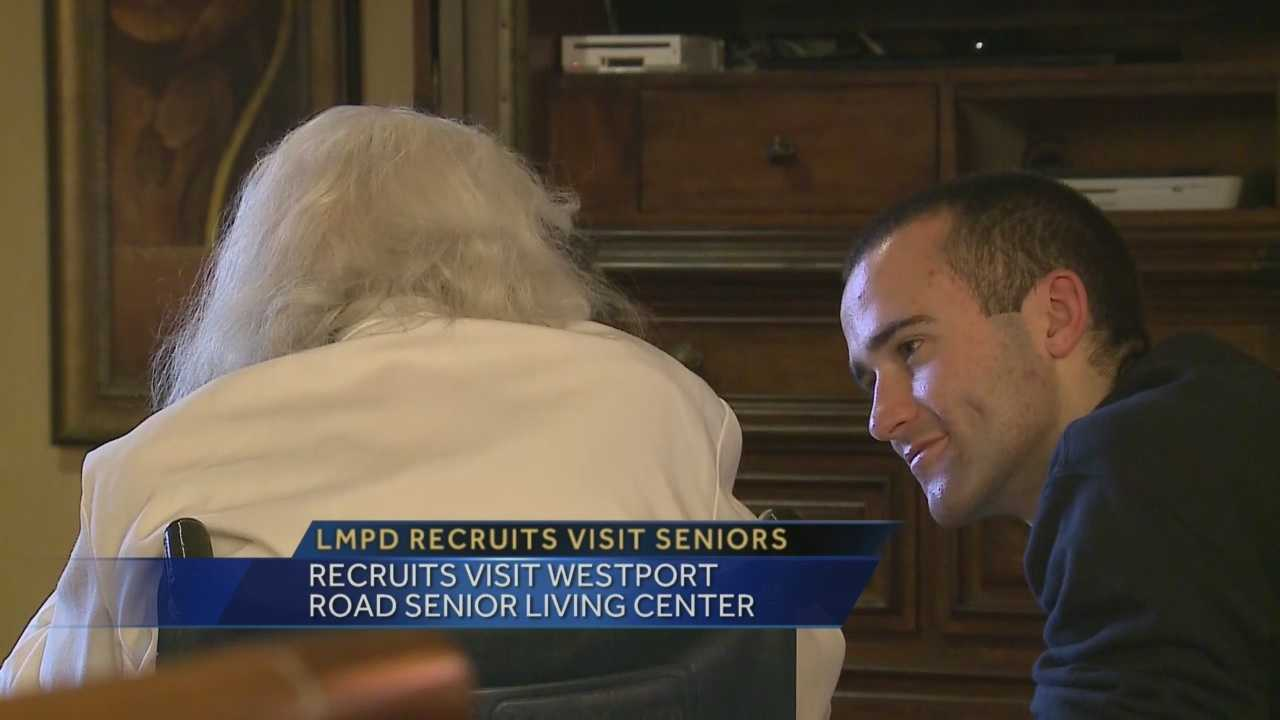 Louisville metro police recruits put smiles on many faces at a Westport Road Senior Living Center Thursday morning.