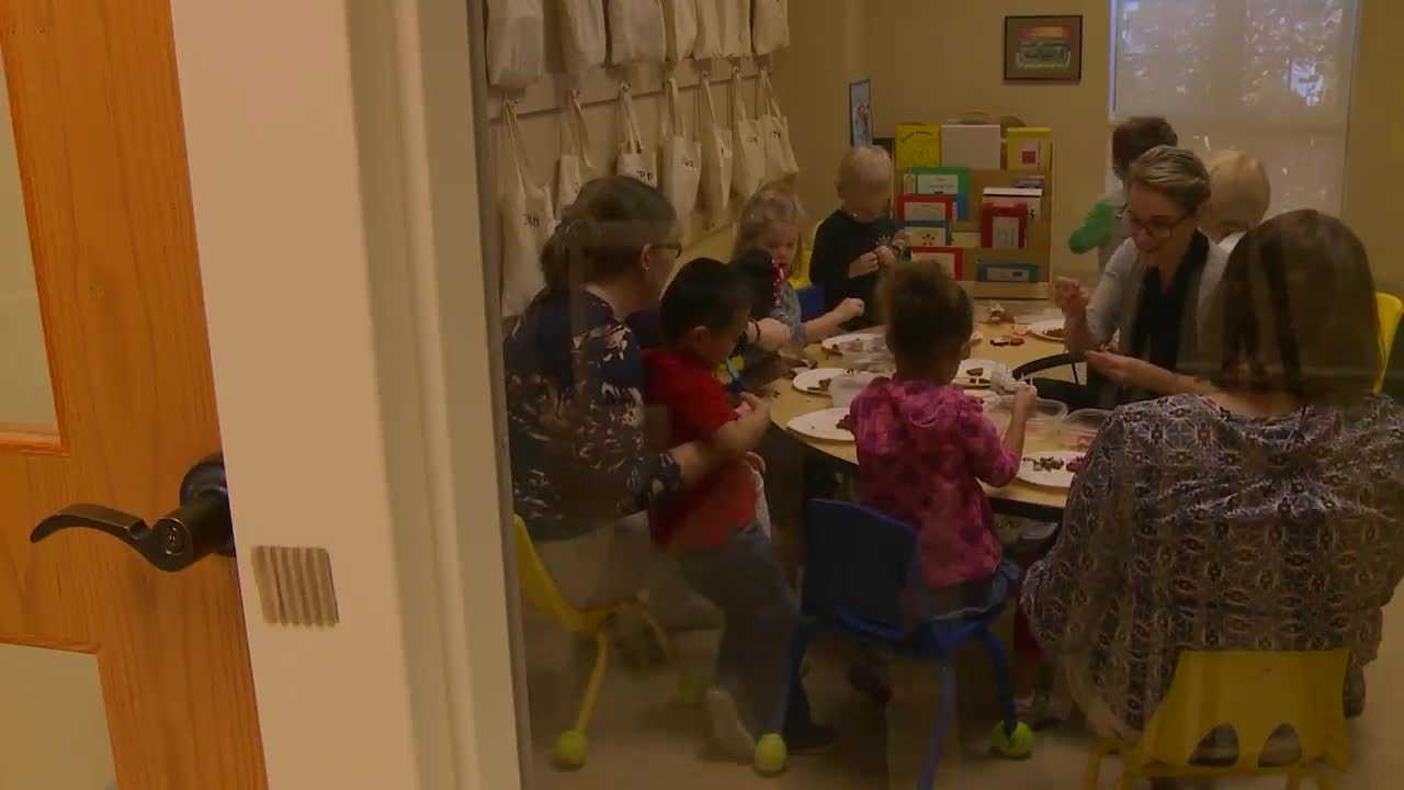 Though it may appear to be any other class of young children working on an art project, the students at the Visually Impaired Preschool Services are enjoying a new way of looking at art, using senses other than sight.