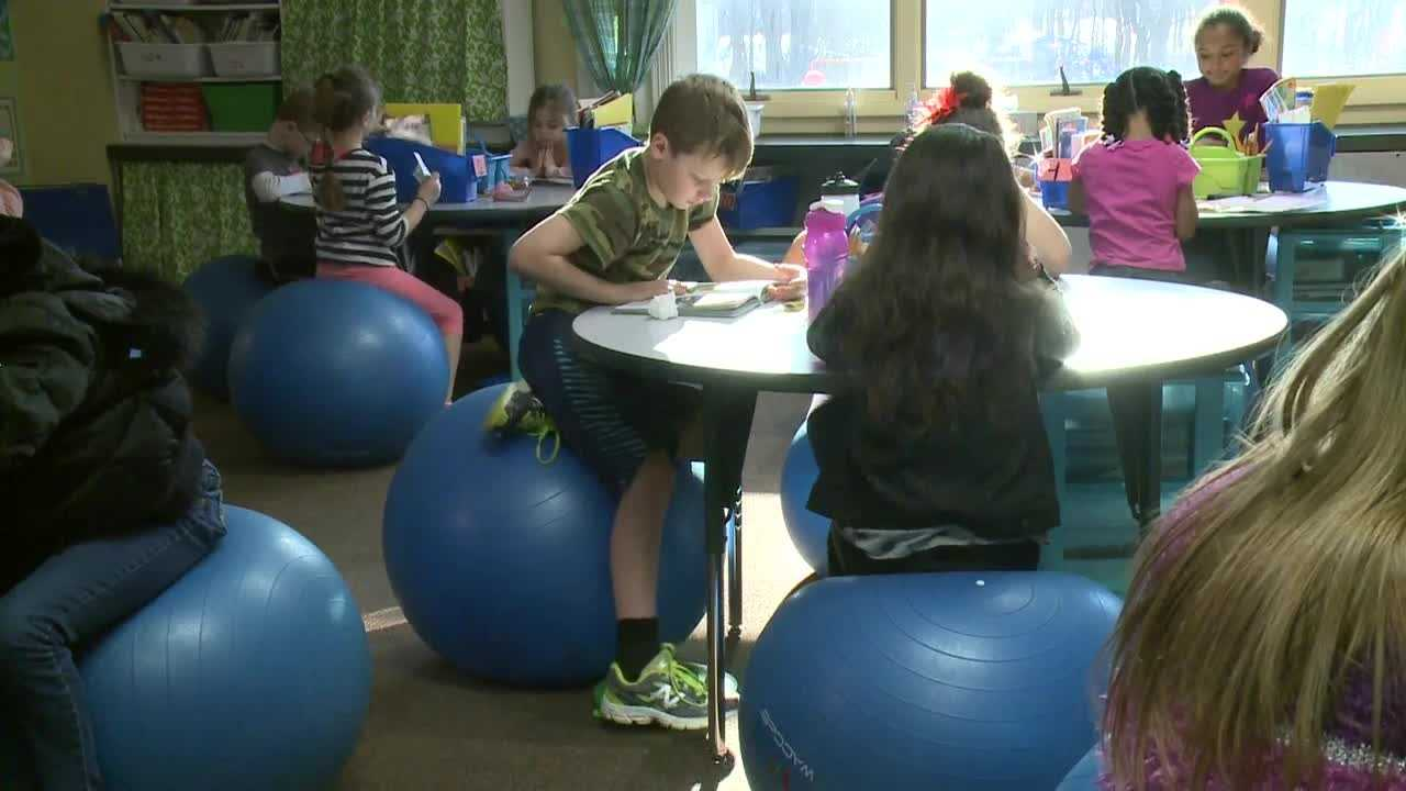 Teacher sees improvement after replacing chairs with stability balls