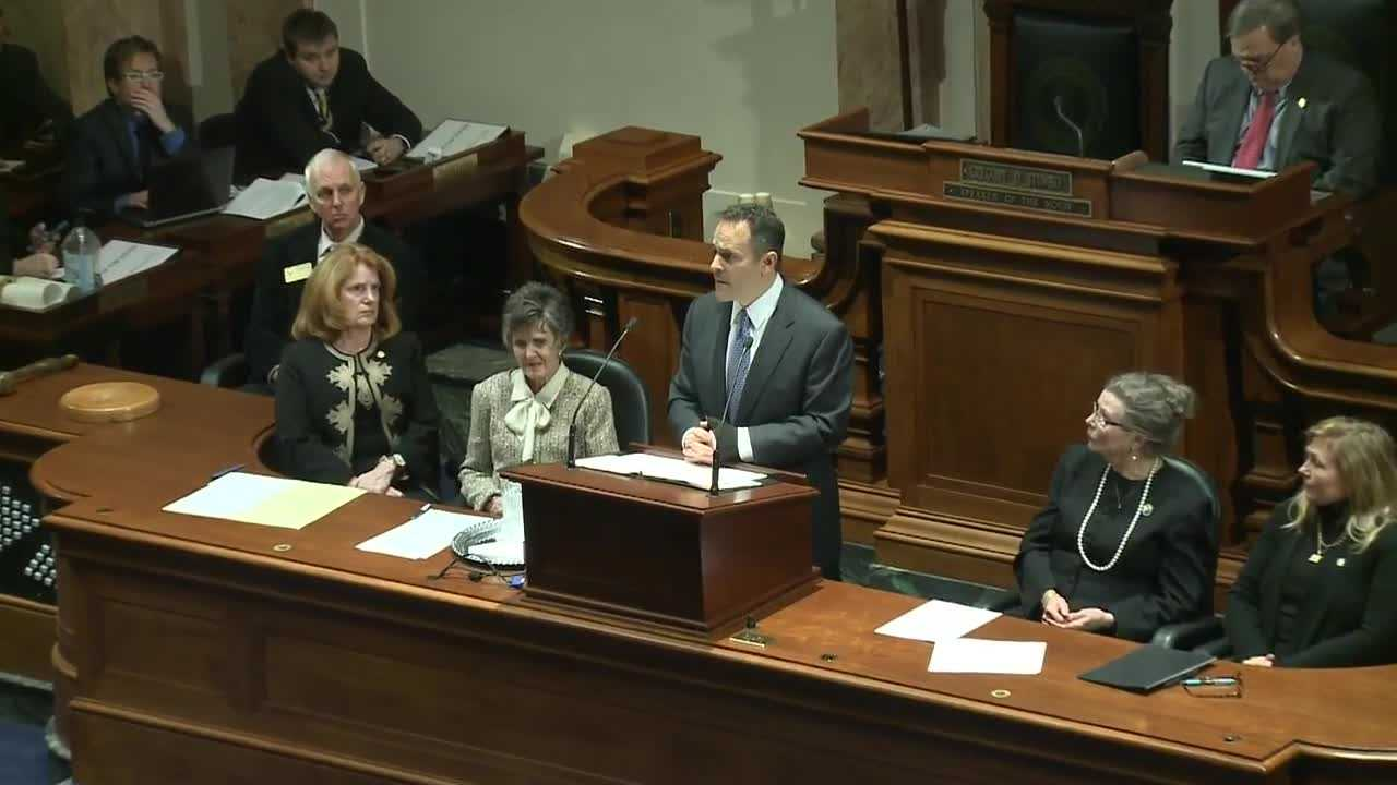 Speaking for just over an hour, Gov. Matt Bevin called his budget sober and realistic. He admitted there will be cuts, about 2.5 cents of every dollar for the next 30 months.