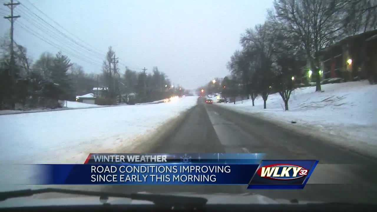 Road crews were out all morning battling what the latest snowstorm left behind.