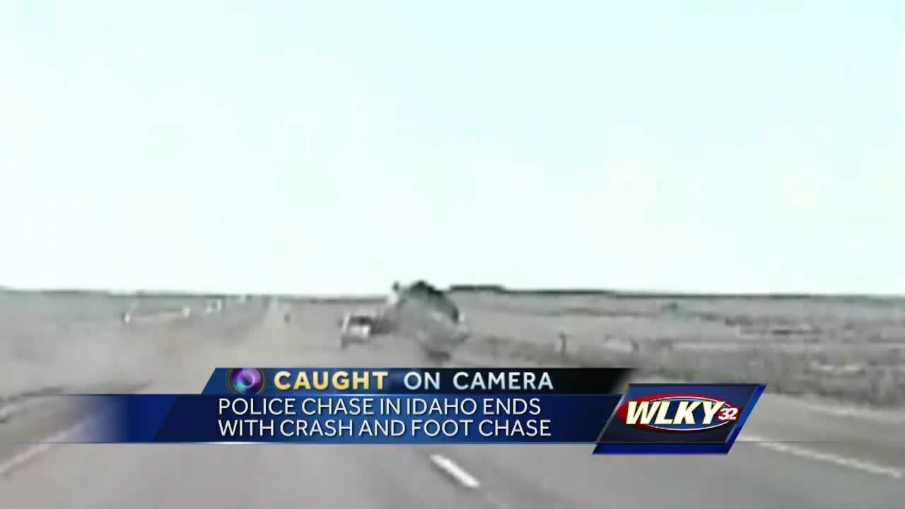 A police chase in Idaho ended with a crash and a foot chase.