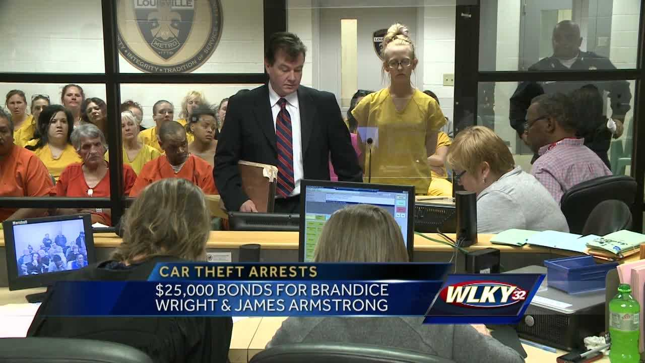 Brandice Wright and James Armstrong are accused of stealing cars from a car dealership.
