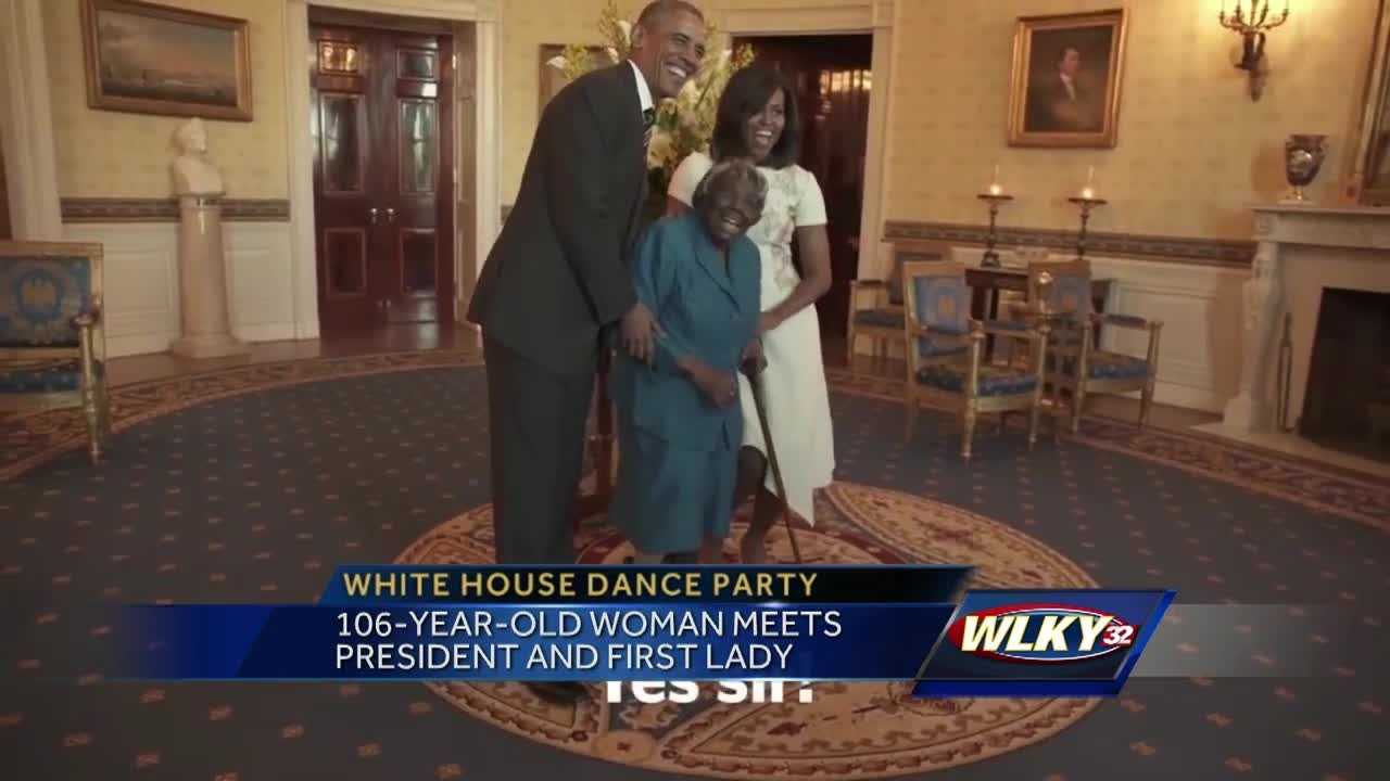An 106-year-old woman was so happy to meet President Obama and the first lady that she started dancing.